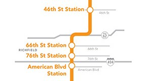 The 17-mile Orange Line Bus Rapid Transit project will run from downtown Minneapolis to Burnsville, with an eventual extension to Lakeville. The Burnsville station alignment is still being studied, but is shown at the Burnsville Transit Station on the map – a stop that has been ruled out for now.  Submitted map: Metro Transit