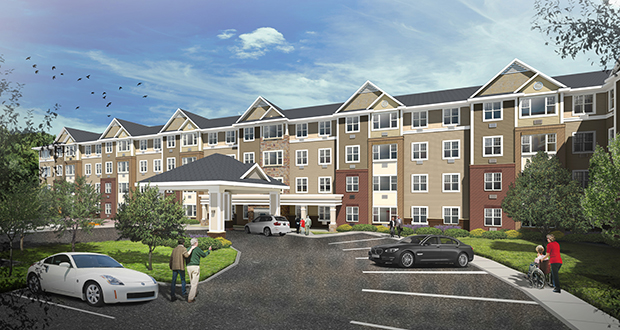 The Sanctuary at West St. Paul, at 1746 Oakdale Ave., kicked off construction on Wednesday. The project will add 164 affordable assisted-living units to the Twin Cities market, thanks to a unique financing package that leverages tax credits. Submitted rendering: SCA Properties