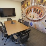 A conference room featuring a large photo mural of the Capitol rotunda.