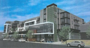 The latest plans for a mixed-use development at the corner of Lyndale Avenue South and West 26th Street, at the former Rex Hardware site, include 100 units and expansive underground parking. The developer has yet to confirm whether the ground-floor retailer will be Aldi. (Submitted rendering: Master)