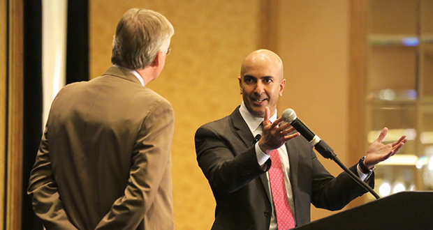 Neel Kashkari, president of the Federal Reserve Bank of Minneapolis, spoke to local business leaders Monday in downtown Minneapolis. He outlined his monetary policy philosophy for the first time since taking the reins at the bank in January. (Staff photo: Bill Klotz)