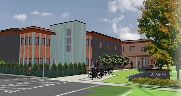 Beacon Interfaith Housing Collaborative has broken ground this week on the 66 West project at 3330 W. 66th St. in Edina. The 39-unit affordable development is designed to help young people struggling with homelessness in the western suburbs. UrbanWorks Architecture is the designer. (Submitted image)
