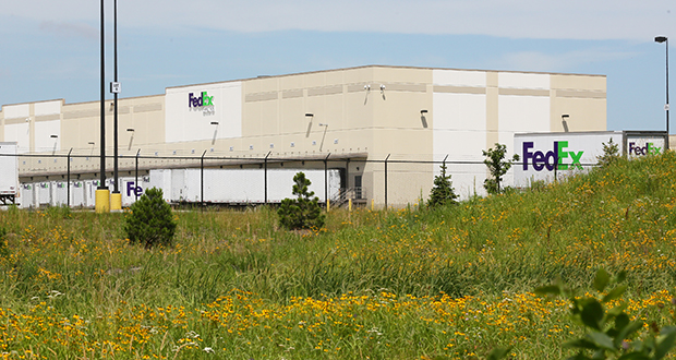 The 350,000-square-foot FedEx distribution facility at 19705 Rogers Drive in Rogers was completed in August 2015. (Staff photo: Bill Klotz)