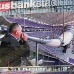 Vikings head coach Mike Zimmer opens a ribbon-cutting ceremony at the new U.S. Bank Stadium on Friday by blowing the team's gjallarhorn.