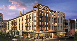 Sherman Associates would build a six-story development with 115 rental units and four walk-up townhomes alongside a restaurant and coffee shop at 205 Park Ave S. in Minneapolis. (Submitted photo: ESG Architects)