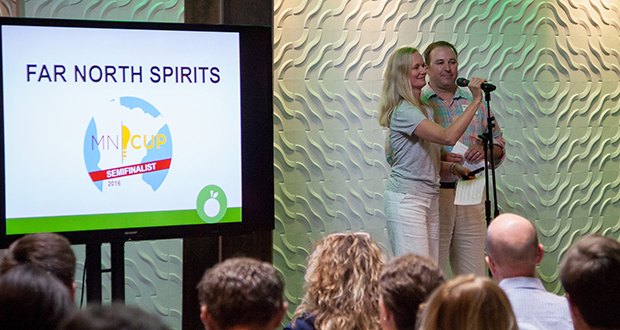 Cheri Reese and Michael Swanson of Far North Spirits make a case for their business to become a finalist in the 2016 MN Cup startup competition during a pitch slam held in Minneapolis last week. (Submitted photo: MN Cup)