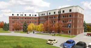 The new five-story Veterans East building will rise on federal land adjacent to an existing 140-unit veterans housing building at 5511 Minnehaha Ave. in Minneapolis. (Submitted rendering)