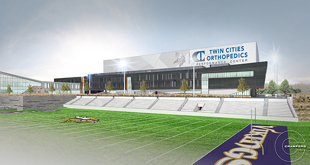 Twin Cities Orthopedics plans to build this 88,000-square-foot orthopedics center within the development that will include the Vikings team practice campus. (Submitted image)
