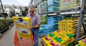 Joe Russo, of Medway, Massachusetts, puts a bag of potting soil into a cart May 18 while shopping at a Home Depot store, in Bellingham, Massachusetts. In the April-June quarter, consumers spent at the fastest pace in six quarters, the Commerce Department said Friday. (AP file photo)