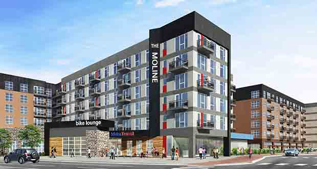Doran Cos. is building The Moline, at 810 First St. S. in Hopkins, across the street from a planned Southwest Light Rail Transit station.  (Submitted rendering: Doran Cos.)