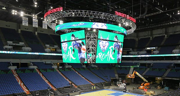 Each of the four displays on Target Center's new scoreboard is 18 feet high and 33 feet wide. (Staff photo: Bill Klotz)