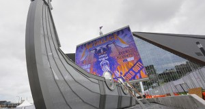 "Minnesota Vikings-funded amenities at the now-open U.S. Bank Stadium in downtown Minneapolis include this ""Legacy Ship"" on the Medtronic Plaza. The team has added about $130 million to the $1.129 billion project above its initial $477 million commitment. (Staff photo: Bill Klotz)"