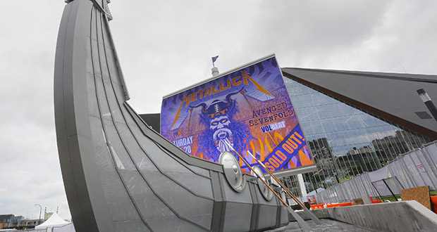 """Minnesota Vikings-funded amenities at the now-open U.S. Bank Stadium in downtown Minneapolis include this """"Legacy Ship"""" on the Medtronic Plaza. The team has added about $130 million to the $1.129 billion project above its initial $477 million commitment. (Staff photo: Bill Klotz)"""