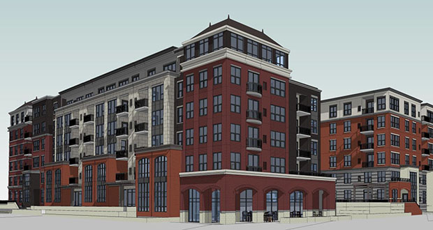 """Minneapolis-based BKV Group has updated the design for a six-story, 246-unit apartment project at 1400 Park Ave. S. in Minneapolis to have a more """"historic"""" façade than the one the Planning Commission approved in April. Weidner Apartment Homes and local developer Dan Hunt are seeking new approvals for the project to reflect those changes. (Submitted rendering: City of Minneapolis)"""