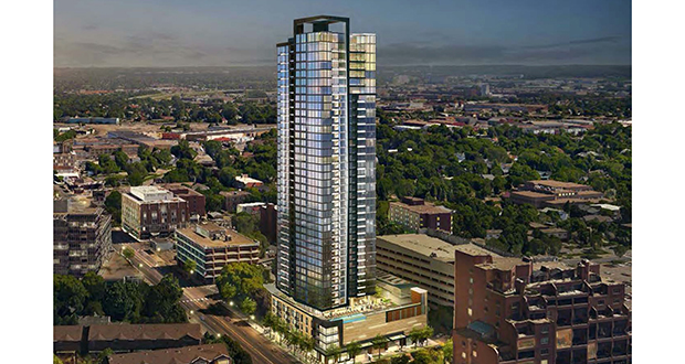 Alatus LLC's condo tower will offer 214 luxury units at 200 Central Ave. SE near St. Anthony Main in Minneapolis. (Submitted rendering: ESG Architects)