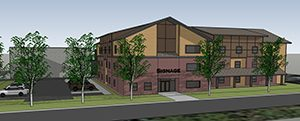 St. Paul-based Hmong American Partnership is proposing to build a 50-unit assisted-living facility on vacant land along Sherburne Avenue in St. Paul's Frogtown neighborhood. (Submitted rendering)