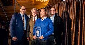 From left, MN Cup co-founder Dan Mallin and Holmes Center for Entrepreneurship director John Stavig stand with StemoniX co-founder Ping Yeh, along with the contest's other co-founder, Scott Litman. StemoniX won the MN Cup grand prize Thursday night.(Submitted photo: MN Cup)