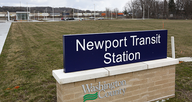 The city of Newport is planning for higher density around the Newport Transit station at 250 Red Rock Crossing, which will be served by the Red Rock Corridor line between Hastings and St. Paul. (File photo: Bill Klotz)