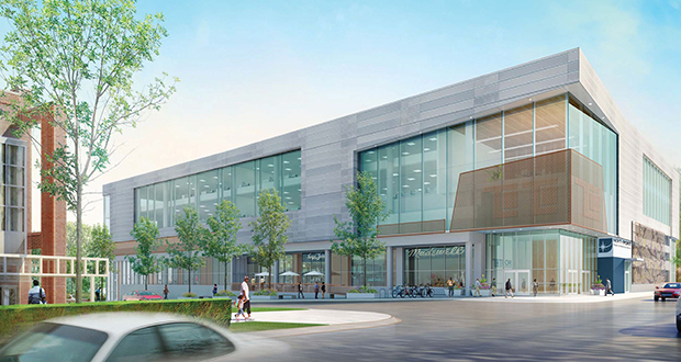 Thor Construction's new headquarters in north Minneapolis will offer about 11,000 square feet of retail space that will front the south side of Plymouth Avenue, across the street from the Minneapolis Urban League (pictured at left).  (Submitted rendering: LSE Architects)