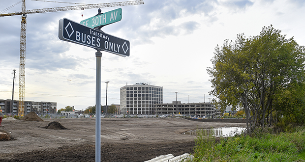 Prospect Park Properties and Timberland Partners say they will submit land use applications before the end of the year for a 240-unit apartment project they want to build at 2901 Fourth St. SE in Minneapolis. (Staff photo: Craig Lassig)