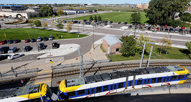 The Metropolitan Council has identified 8 acres at the 28th Avenue Station park-and-ride in Bloomington as a potential transit-oriented development site. Served by the Blue Line light rail transit route, the site is in the city's South Loop neighborhood one stop from the Mall of America. (Staff photo: Bill Klotz)