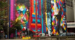 A colorful, 150-foot-wide Bob Dylan mural at the southeast corner of Hennepin Avenue and Fifth Street has won a Minneapolis Downtown Improvement District Greening and Public Realm Award in the Public Art category. (Submitted photo: Kurt Moses Photography via Minneapolis DID)