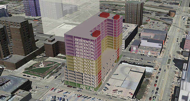 Hammes Co.'s proposed 16-story hotel and apartment development at 6 First Ave. NW in downtown Rochester is still in the early design phases. (Submitted illustration: Destination Medical Center Corp.)
