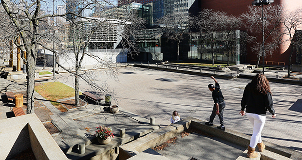 Peavey Plaza, built in 1975, is set to be updated after facing a lawsuit from preservationists during the city of Minneapolis' first attempt to redesign the concrete park at Nicollet Mall and 11th Street.  (Staff photo: Bill Klotz)