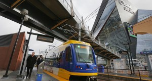 A pedestrian bridge over Chicago Avenue links the new Vikings stadium and the adjacent U.S. Bank Stadium light rail transit station in Minneapolis. The cost of the bridge is a sore point for some Metropolitan Council members. (Staff photo: Bill Klotz)