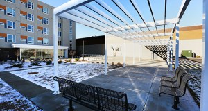 The 44-unit Prior Crossing building at 1949 W. University Ave. in St. Paul includes community areas, including an outdoor patio space, for previously homeless youth. (Staff photo: Bill Klotz)