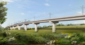 The Southwest Light Rail Transit project will include building 29 new bridges for the 14.5-mile line between Minneapolis and Eden Prairie, including the Minnetonka-Hopkins Bridge shown in this image. (Submitted rendering: Metropolitan Council)