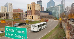 A Metro Transit bus enters downtown Minneapolis where a planned transit ramp is set to be built at Interstate 35W and 12th Street. The ramp would be built as part of the Orange Line bus rapid transit project, which is set for construction next year. (File photo: Bill Klotz)