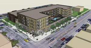 Master Properties' Rex 26 project at 2601-2607 Lyndale Ave. S. in Minneapolis would offer 77 market-rate apartments over a 20,000-square-foot Aldi. The Minneapolis Planning Commission will review the project on Monday. (Submitted rendering: City of Minneapolis)