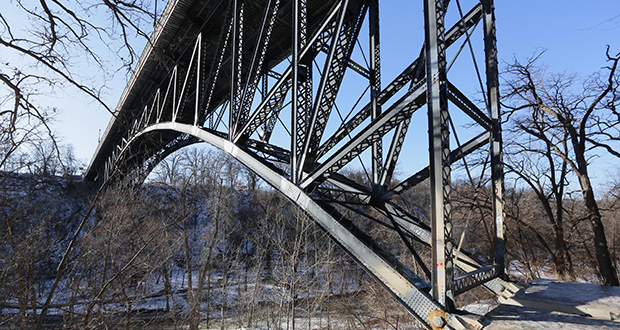 Gov. Mark Dayton's $1.5 billion bonding recommendation includes funding for everything from the Minnesota Security Hospital in St. Peter to an improvement of this truss bridge at the Minneapolis Veterans Home. (Staff Photo: Bill Klotz)
