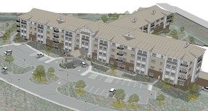 The Mission Hills Senior Housing complex in Chanhassen puts independent living twin homes next to a senior housing apartment building offering several levels of care. (Submitted illustration: City of Chanhassen)