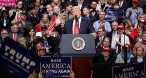 President Donald Trump speaks at a rally Wednesday in Nashville, Tennessee. The Trump administration released its budget proposal Thursday that would boost military spending by 10 percent and put a $1.4 billion down payment on a border wall with Mexico. (AP Photo: Mark Humphrey)