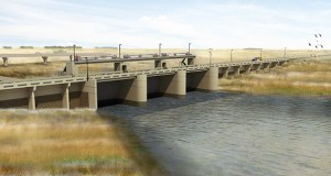 Burnsville-based Ames Construction recently began construction on this inlet control structure near Horace, North Dakota, part of the $2.1 billion Fargo-Moorhead flood diversion project. (Submitted rendering: U.S. Army Corps of Engineers)