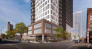 Brick tones and creamy whites on the exterior of Mortenson's planned 26-story apartment tower at 333 Hennepin Ave. E. were included in the project to pick up on colors in the surrounding Minneapolis neighborhood. (Submitted illustration: Cuningham Group)