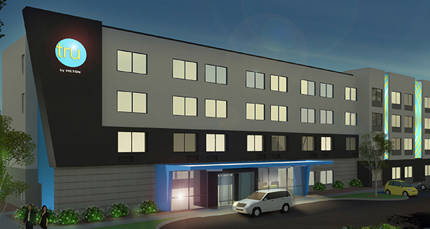 Half of Baywood Hotels' proposal for a Hilton hotel at 2405-2435 E. Old Shakopee Road in Bloomington will carry the Tru by Hilton flag and will be designed in keeping with the brand's look. (Submitted image: Tru by Hilton)