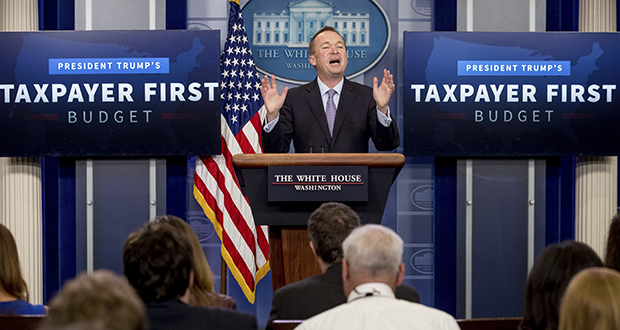 Budget Director Mick Mulvaney speaks about President Donald Trump's proposed fiscal 2018 federal budget Tuesday in the Press Briefing Room of the White House in Washington. (AP Photo: Andrew Harnik)