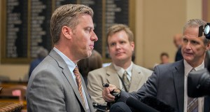 "A weary House Speaker Kurt Daudt speaks with the press on the House floor Wednesday evening, just after adjourning the slow-moving special session to give lawmakers a much-needed rest. ""I think I am ready to be done,"" the speaker said. (Staff photo: Kevin Featherly)"