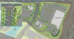 This rendering shows the design for the 105,000-square-foot store Iowa-based Hy-Vee Inc. plans to build in the Chaska Business Center, an 83-acre mixed-use development on the southwest corner of Highway 212 and Engler Boulevard. (Submitted image: Hy-Vee)