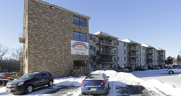 The longtime owners of the 108-unit Rainbow Plaza apartments at 820 W. Main St. in Anoka have sold it and a second apartment property in Coon Rapids to St. Paul-based CommonBond Communities at a reduced price to let the nonprofit keep rents affordable. (Submitted photo: CoStar)