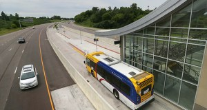 A Metro Transit bus departs from the Red Line's Cedar Grove station in Eagan. The breakup of the Counties Transit Improvement Board is expected to raise more money for metro area transit projects. (Staff photo: Bill Klotz)
