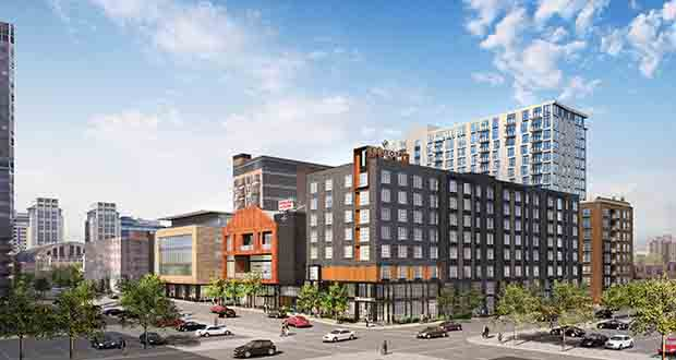 Yakima, Washington-based Wilkinson Corp. will build an eight-story, 168-unit hotel on the southwestern portion of the Kraus-Anderson block in downtown Minneapolis. (Submitted image: Kraus-Anderson )