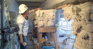"""HGA used a 3-D printer to produce a full-scale plastic replica of an """"original column capitol,"""" the decorative piece sitting atop a column at the State Capitol. The replica was based on a laser scan of a white marble piece, which was sent to a stone carver to use as a model to guide his work. (Submitted image: HGA Architects and Engineers)"""