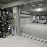 Bike storage area located in the underground garage.