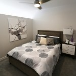 """The bedroom in unit 608, an """"alcove"""" apartment."""