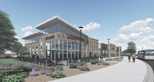 Designers had to go back to the drafting board several times for Plaza 66, a single-story, 10,100-square-foot building planned by Eden Prairie-based Interstate Development. (Submitted rendering: DJR)