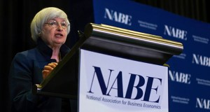 Federal Reserve Chair Janet Yellen speaks Tuesday at an economics conference in Cleveland. Yellen acknowledged that the Fed is puzzled by the persistence of unusually low inflation and that it might have to adjust the timing of its interest rate policies accordingly. (AP Photo: Dake Kang)